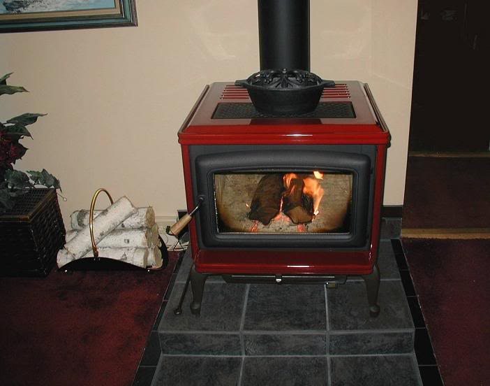 Summit wood stove by Pacific Energy heating the family